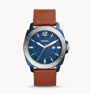 Fossil Men's Leather Sport Three Hand Watch